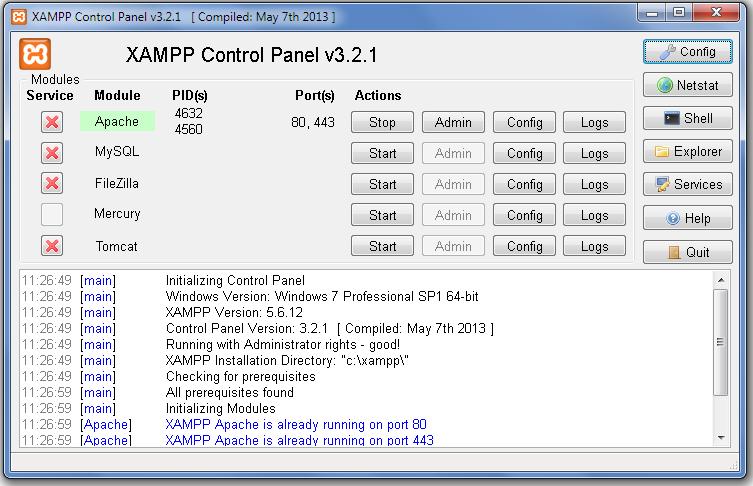 Panel Kontrolny XAMPP